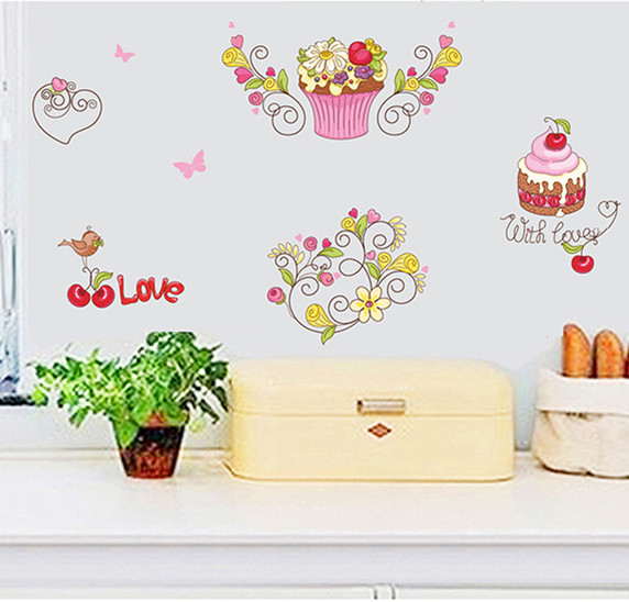 Food Cake Ice Cream Cartoon Furniture Wall Sticker Wall Decal Home Decor Art Accessories Home Decoration For Kitchen Dining Room