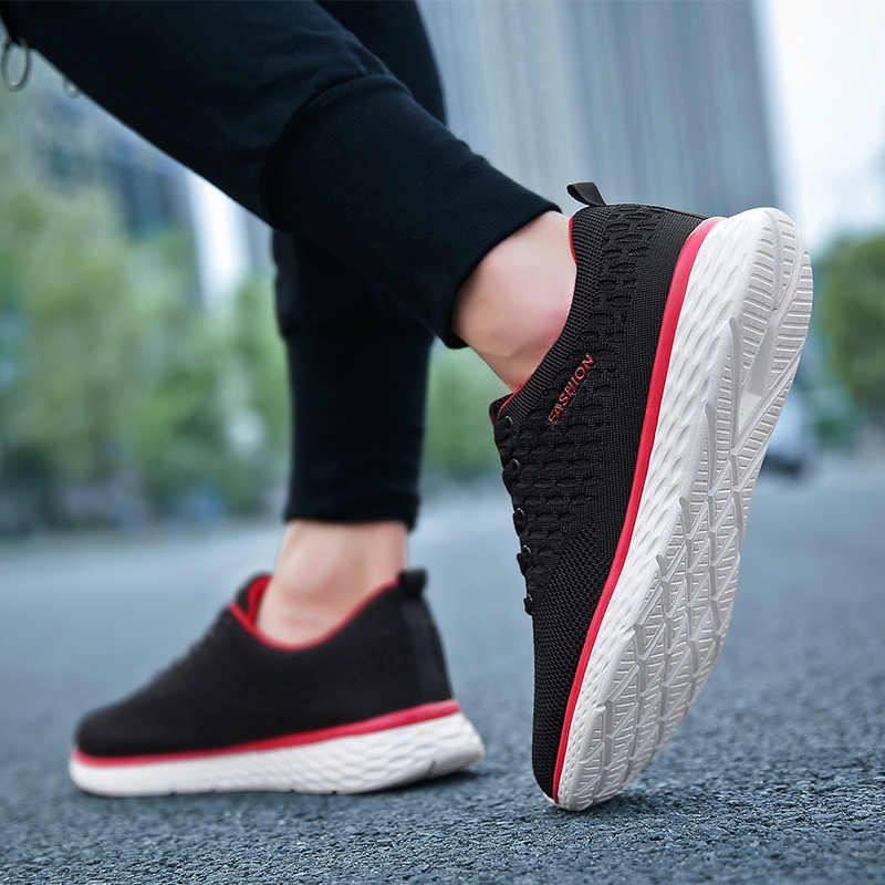 Nefes Erkekler koşu ayakkabıları Rahat spor ayakkabılar Erkekler Eğilim Hafif yürüyüş ayakkabısı Örgü Lace Up Sneakers Zapatillas