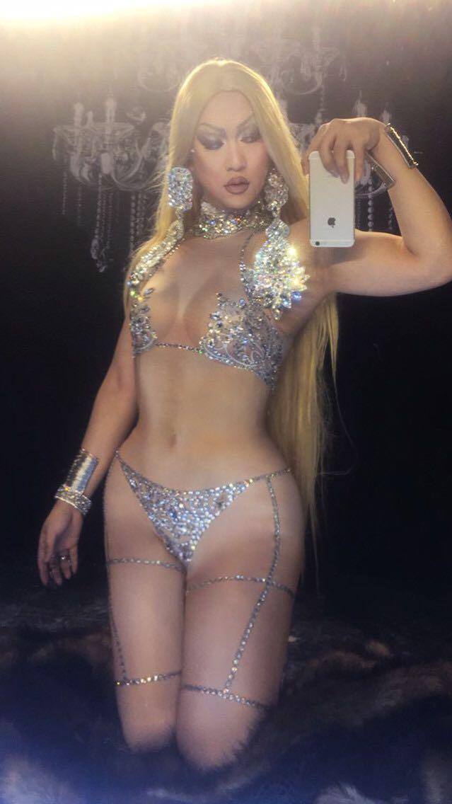 2018 Bianco Compleanno Costume Strass Stampa Femminile Dj Celebrazione Bar Di Danza Nuovo Donne Sexy Party Pieno Spogliarello Festa rUwqTPar