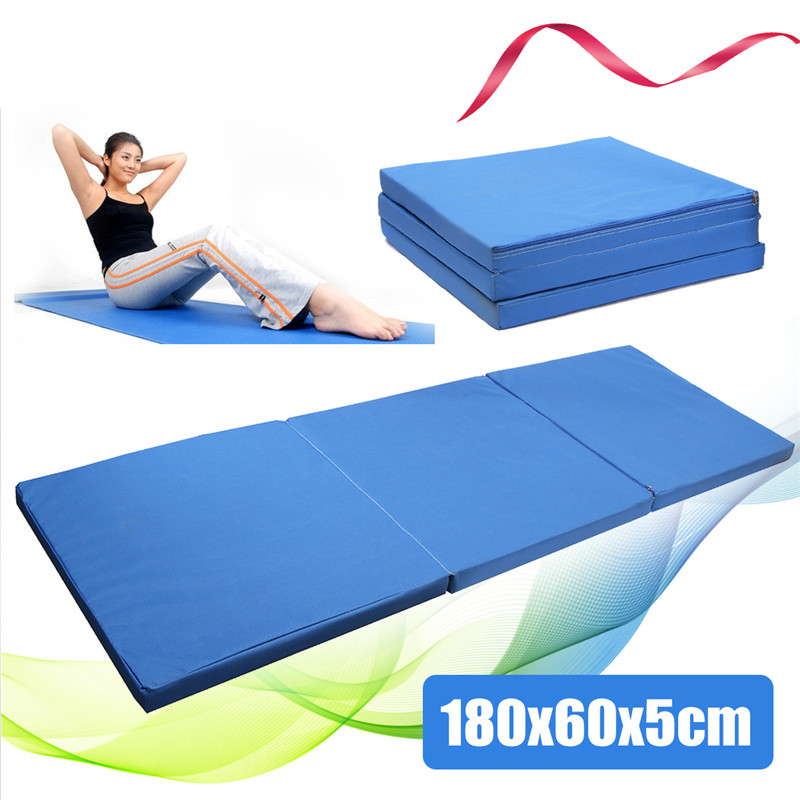 New Arrival 180x60x5cm Multifunctional Oxford Blue Folding Gym Mat Gymnastics Aerobics Exercise Sport Yoga Pilates Tumbling Mats gymnastics mat thick four folding panel fitness exercise 2 4mx1 2mx3cm