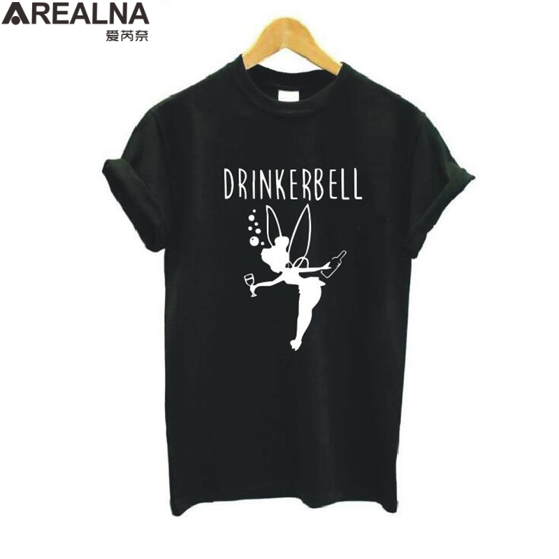 Vogue T Shirt Women 2019 Drinkerbell Letter Printed Plus Size Funny T Shirts Women Cotton Short Sleeve Harajuku Tee Shirt Femme