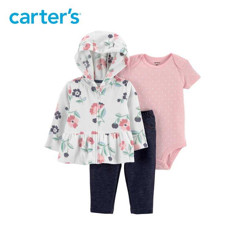 dcdc413e7 Detail Feedback Questions about 3pcs polka dots bodysuit easy on denim  pants floral print fleece jacket set Carter's baby girl spring autumn  clothing ...