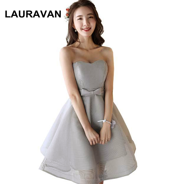 robe soiree puffy girls grey strapless romantic short tulle   bridesmaid     dresses     bridesmaids     dress   ball gown to wedding party