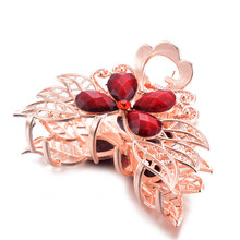 Retro Ladies High Quality Resin Crystal Flower Hair Claws Wedding  Accessories Fashion Gold Claw Hairpin wholesale