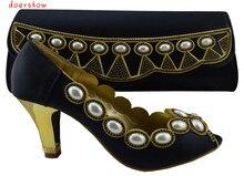 Doershow 2015 Wonderful Estilo Africano Sapatos E Malas de Correspondência Conjuntos das Mulheres Para As Mulheres (Szie: 38 ou 42) na Cor preta HJZ1-99