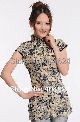 Wholesale 2015 Popular Printing Chinese Traditional Cheongsam Tops Handmade Women's Cotton Top shirt Classical Blouse Cheongsam