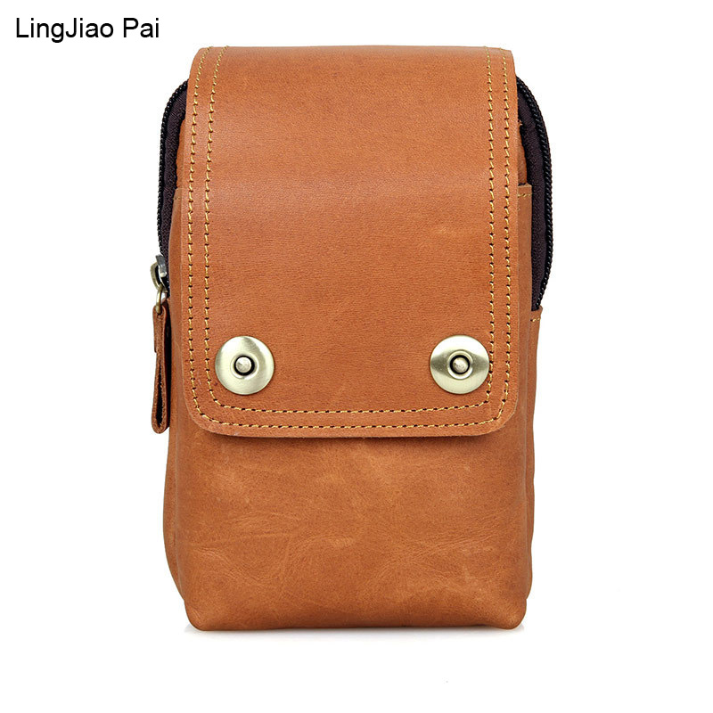 LingJiao Pai Genuine Leather Men s Waist Packs New Designer Cowhide Casual Waist Pack High Quality