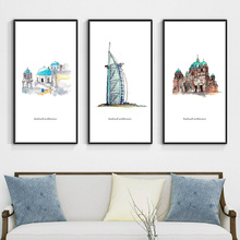 цена The World's Logo Famous Architectural Landscape Canvas Painting Art Prints Posters Wall Picture for Living Room Home Decoration в интернет-магазинах