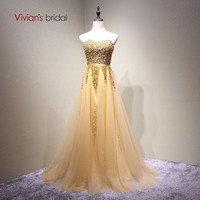 Vivian's Bridal Fashion Strapless Candy Color Crystal Evening Dress Sequin Beading Sashes Backless Lace up Golden Long Dress