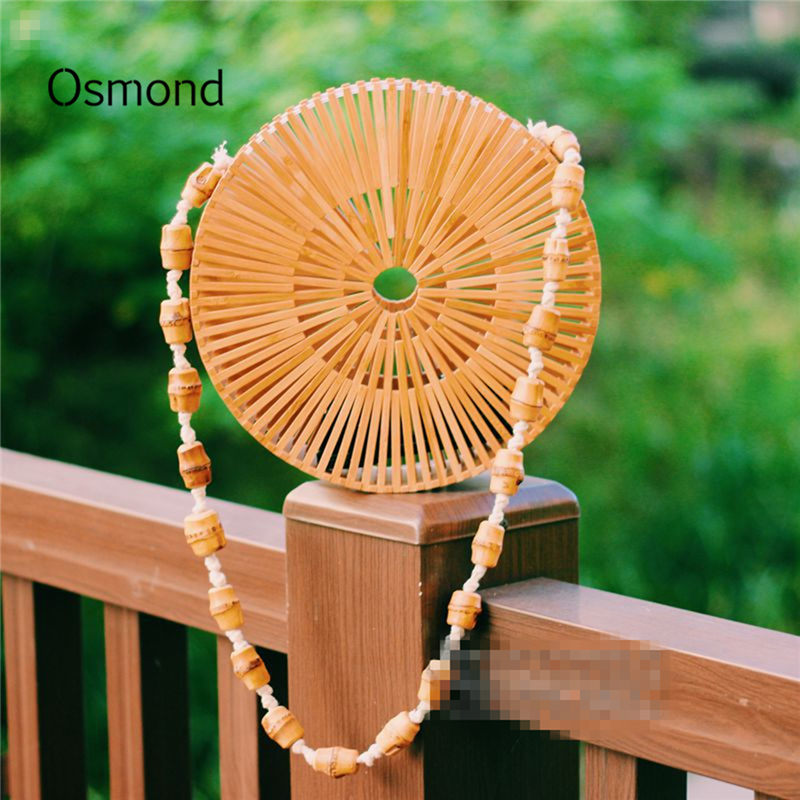 Osmond Female Round Beach Bamboo Bag Fashion Shoulder Bag Women Hollow Out Crossbody Shopping Straw Bag Travel Bag Two Colors купить дешево онлайн