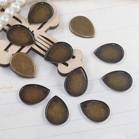 Copper 13*18mm 300pcs Antique Bronze Teardrop Blank Pendant Trays Bases Cameo Cabochon Setting for Glass/Stickers