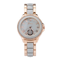 New Stainless Steel Geneva Watch Rose Gold Luxury Bracelet Watch Fashion Luxury Women Dress Watch Relogio
