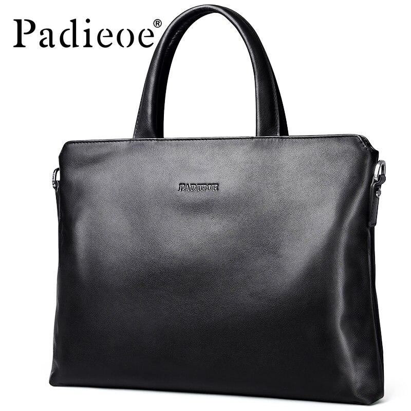Padieoe Men's Briefcase Laptop-Bag Shoulder-Bag Business Genuine-Cow-Leather Luxury Fashion