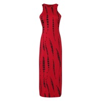 Striped Print Hollow Out Maxi Dresses Summer Celebrity Beach Party NOVELTY Tie Dye Cut Out Red