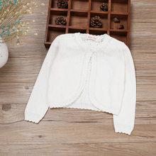 4c002fbd826 Los niños de manga larga niñas Cardigan suéter blanco 100 algodón niñas  abrigo 1 2 3 4 6 8 10 11 años viejo 2019 ropa de niños 1.
