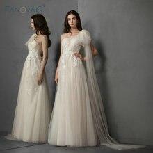 Boho Beach Wedding Dresses With Shawl Lace Tulle Dress Vestido de Novia 2019 Vintage Bridal Gowns Robe mairee