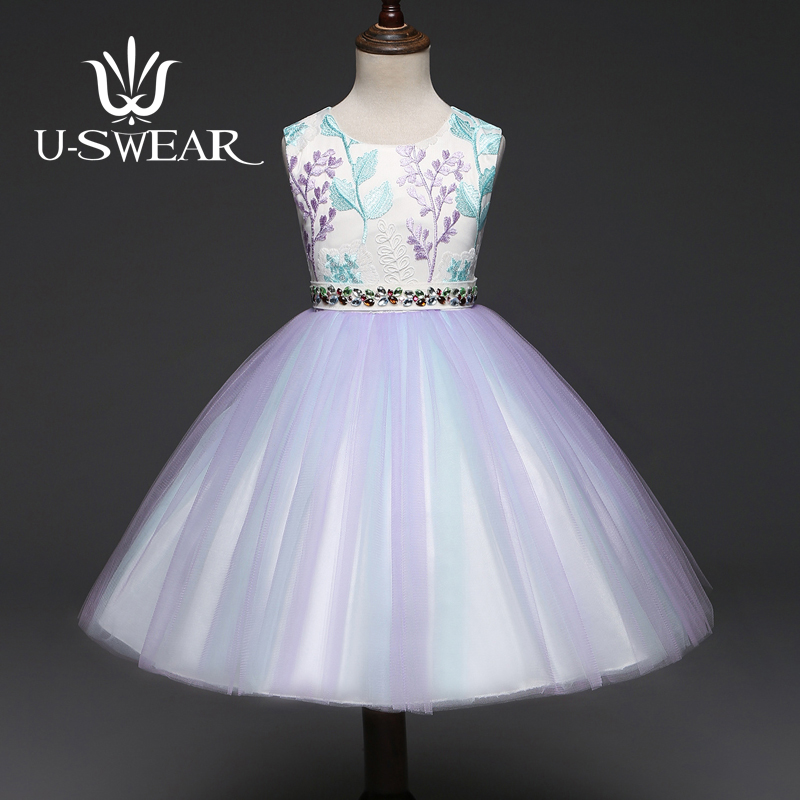 U-SWEAR 2019 New Arrival   Flower     Girl     Dress   O-Neck Sleeveless Embroidery Flora Crystal Beaded Waist   Flower     Girl   Pageant   Dress