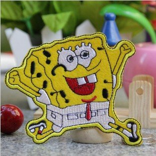 Free shipping--Retail and wholesale embroidered badges/fabric sticker/embroidered patch/cute spongebob badge