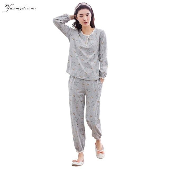 7b19187c4 Yummydreams 2017 Otoño Damas de Manga Larga Conjunto Pijama De Algodón  Pijamas de Mujeres Pijamas Animal