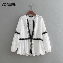 VOGUEIN New Womens Embroidery Tassels Hollow Out Cardigan Bl