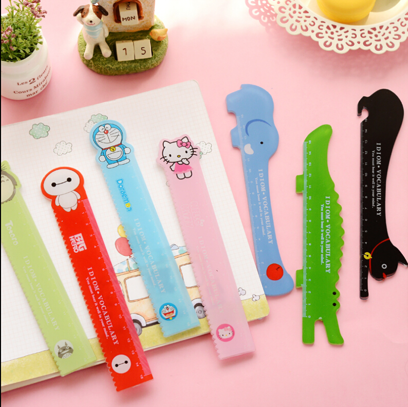8 Pcs/Lot Cartoon Style Scale 15cm Line Straight Ruler Kawaii School Supplies Hello Kitty Baymax Totoro Doraemon Stationary