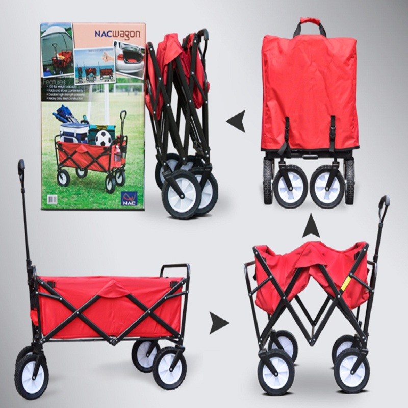 4 wheels outdoor camp cart, fold portable shopping cart, baby carriage with seat belt Multan
