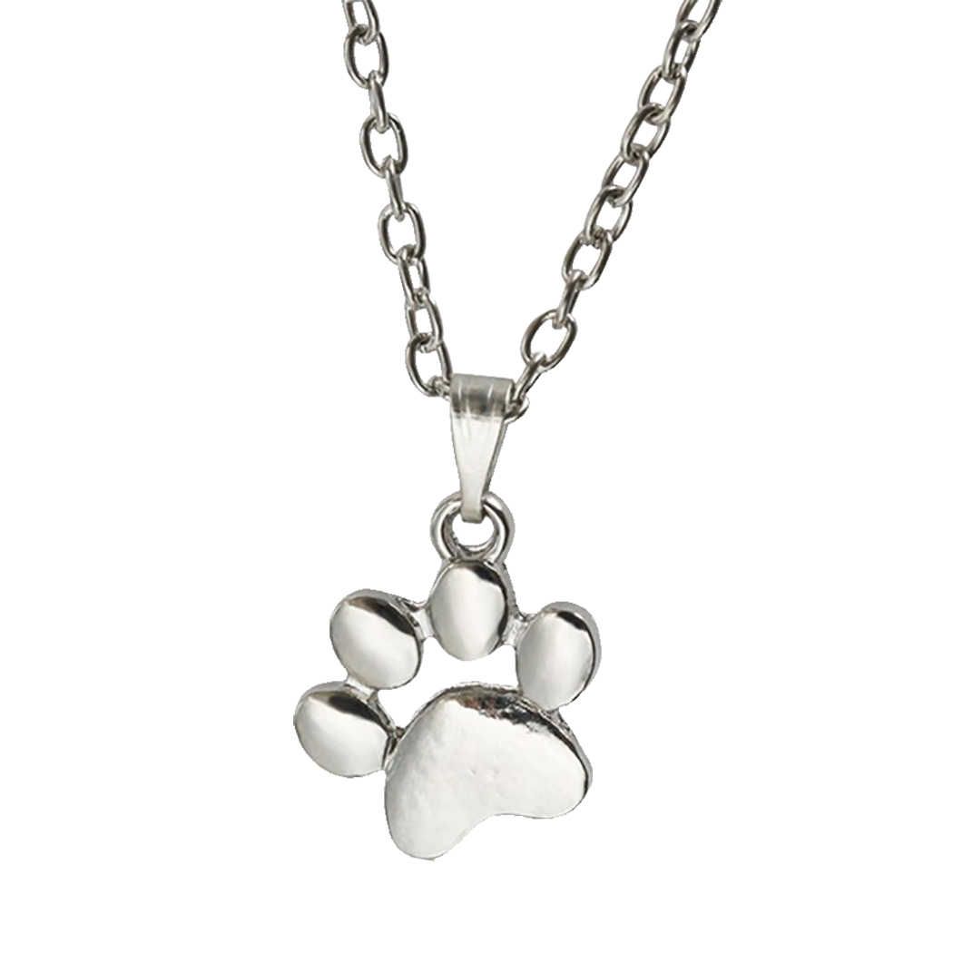Silver Gold Dog Cat Necklace For Women jewelry accessories Animal Paw Pet Choker Necklace Pendant Footprints New Girls Gift