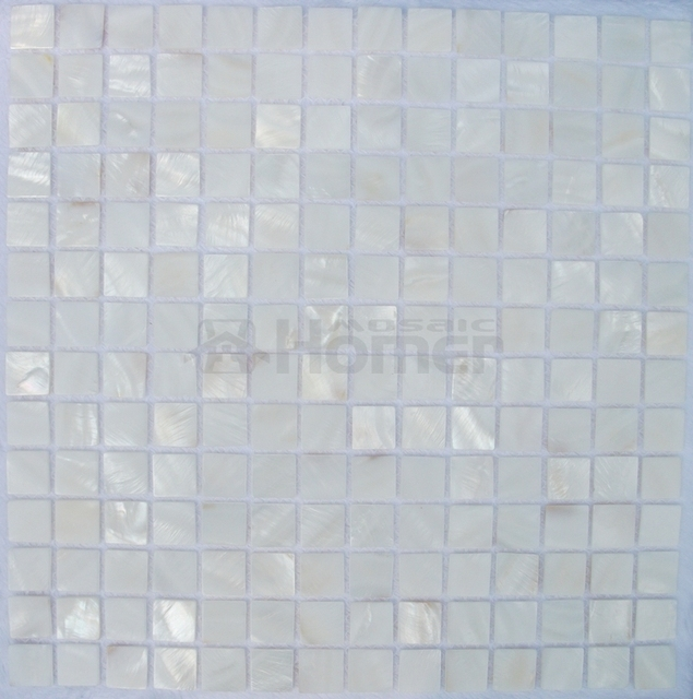 Blanco puro Shell mosaico baldosas backsplash de la cocina y baño ...