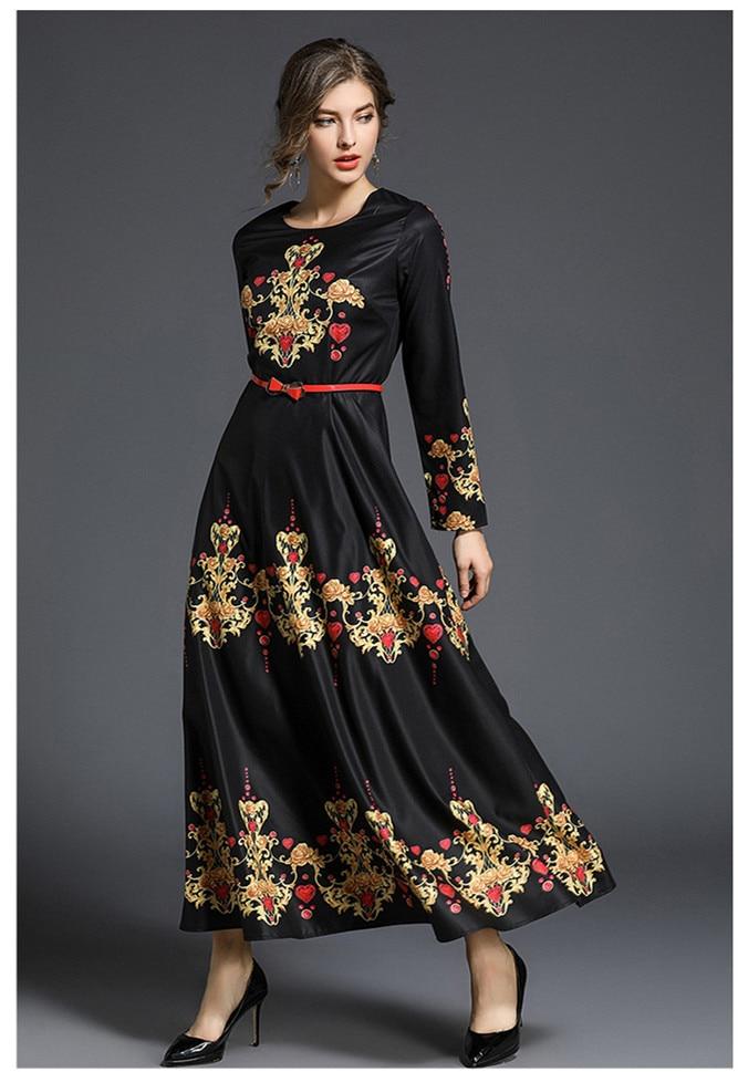 New 2018 Spring runways floral print long sleeve party dress Fashion women belted elegant dress