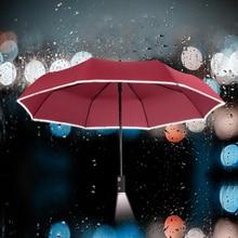 2016 Nouveau Led Pluie Parapluie Avec lampe de Poche Hommes Femmes Soleil Trois Pliant Automatique Parapluies Avec Sécurité Dentelle de Fluorescence Bande