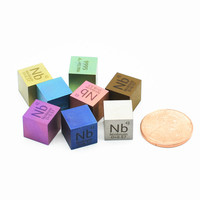 Colorful Metal Niobium Density Cube Nb 99.99% Pure for Element Collection Hand Made DIY Hobbies Crafts Display Glass Sealed