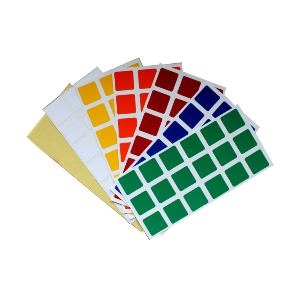 2 Sets of Standard Color PVC Smooth Stickers for 57mm 3x3x3 Speed Magic Cube Dayan Zhanchi