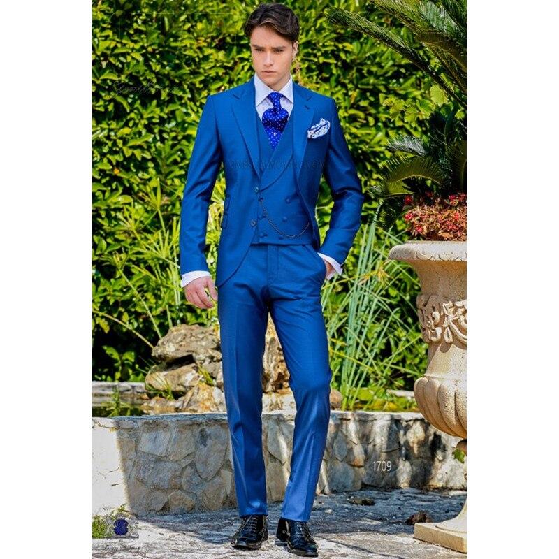 Latest Coat Pant Designs Royal Blue Italian Men Suit Classic Gentle Tuxedo Prom Blazer Custom 3 Piece Jacket Masculino A219