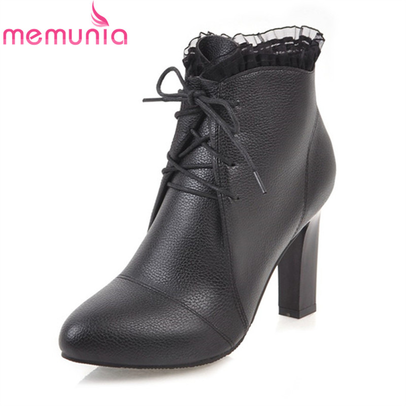 MEMUNIA big size 34-45 new arrival 2018 ankle boots white black round toe fashion boots 8.5cm high heels women lace up shoes цена 2017