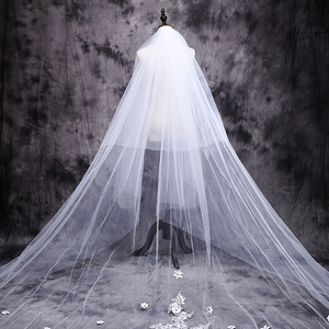 Image 2 - ใหม่ร้อน velos de novia 3 เมตร 2T White & Ivory Lace Appliques Rhinstones Purfle ยาวแต่งงาน Wedding Veils หวี