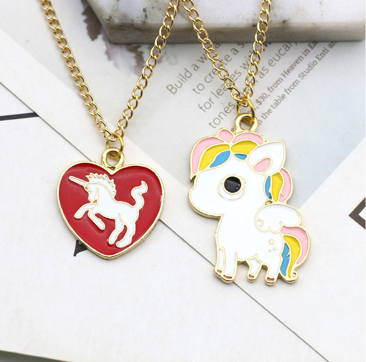 10pcs/lot Korea Stylish Heart Unicorn Rainbow Necklace Hanging Accessories Birthday Festival Party Take home Favors