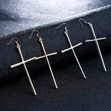 Big Dangle Cross Earring Women Jewelry Gold/Silver Colors Cross Long Hanging Drop Earrings Cruz Pendientes Brincos Wholesale