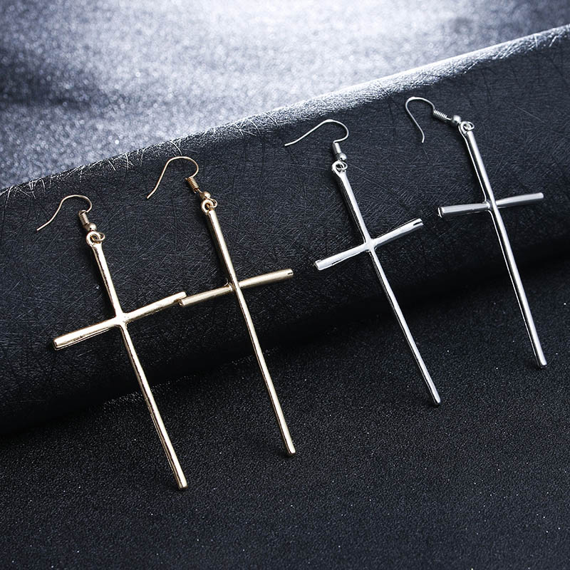 Cross Earrings Large Earrings Jewelry Gold/Silver Colors ...