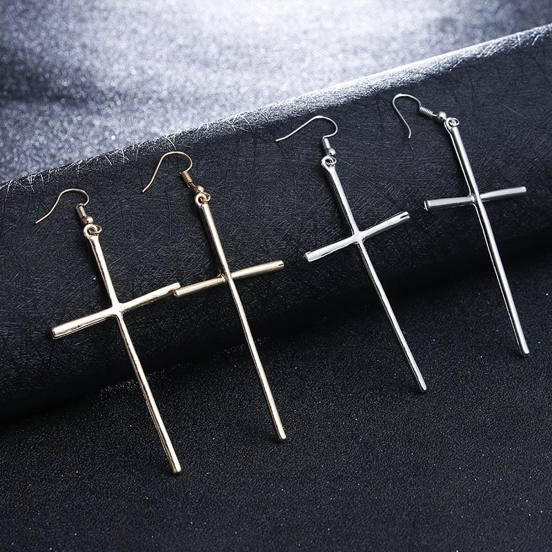 Cross Earrings Large Earrings Jewelry Gold/Silver Colors ...