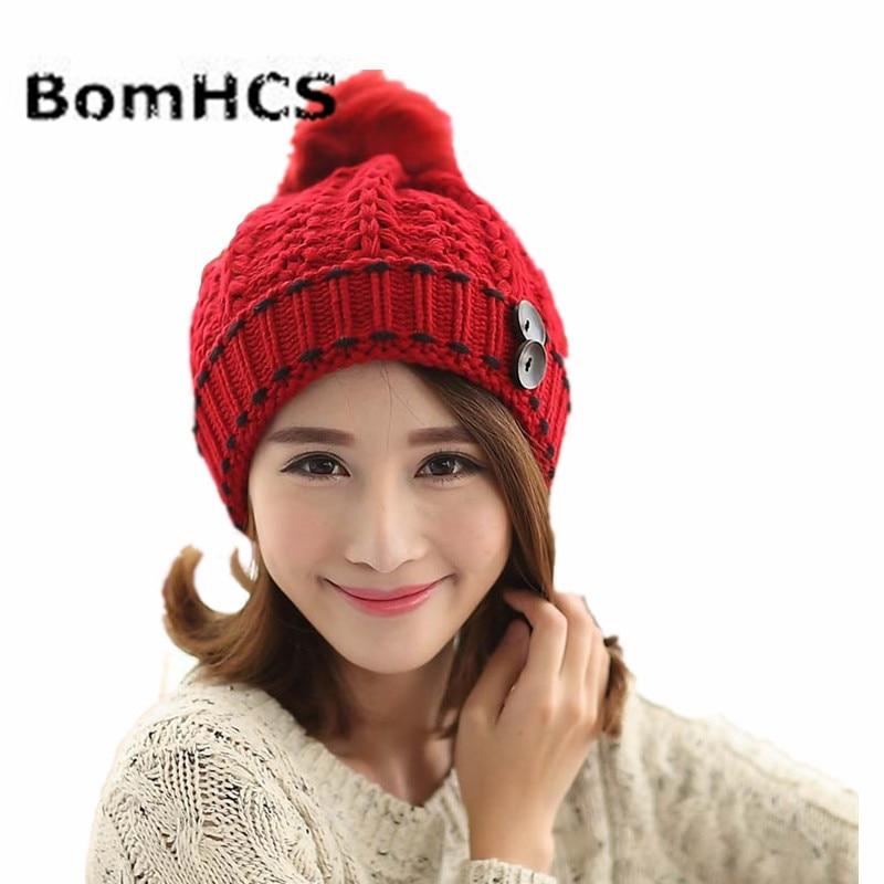 e343bbb769229b BomHCS Fashion Cute Autumn Winter Warm Knit Snow Hat Beanie Crochet Cap Hats  With Hair Ball-in Women's Skullies & Beanies from Apparel Accessories on ...