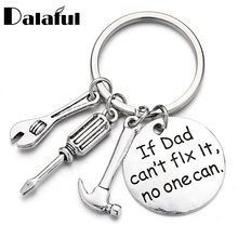 "Mini Tools Round Lettering ""if dad can not fix it"" Car Trucker KeyChains Father Gifts for Men Daddy's Key Rings K388(China)"