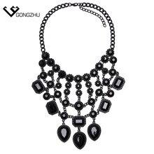 Alta calidad 2016 nueva joyería de moda Negro de La Hoja Colgante y Collar de piedra de la resina gota gargantilla collar llamativo mujeres longitud 45 cm