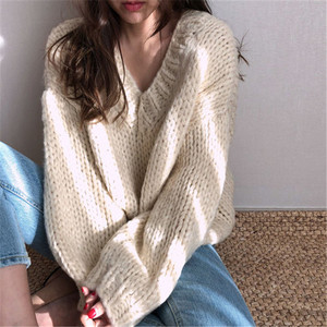 Image 2 - RUGOD Casual winter women clothes Fashion V neck long sleeve pullover sweater office lady pullovers jumper pull femme hiver