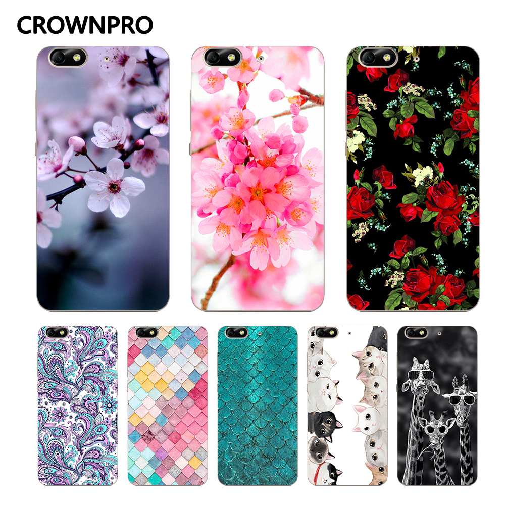 CROWNPRO Soft Silicone Huawei Honor 4C Case Cover Phone Protective TPU Drawing Painting Patterned Back Huawei G Play Mini Case
