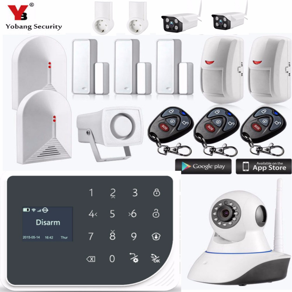 Yobang Security WIFI GSM Alarm Systems Security Home Smoke Alarm Detector APP Control IP Camera Strobe Siren DIY KIT yobang security wifi gsm 3g alarm systems security home gsm alarm system app control wirelress alarm diy kit