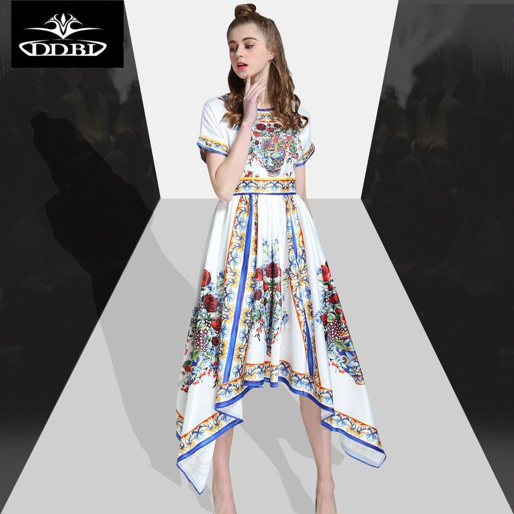 Runway 2017 Women High Quality Red Flowers Print White Blue Irregular Fashion Female For Summer 17509