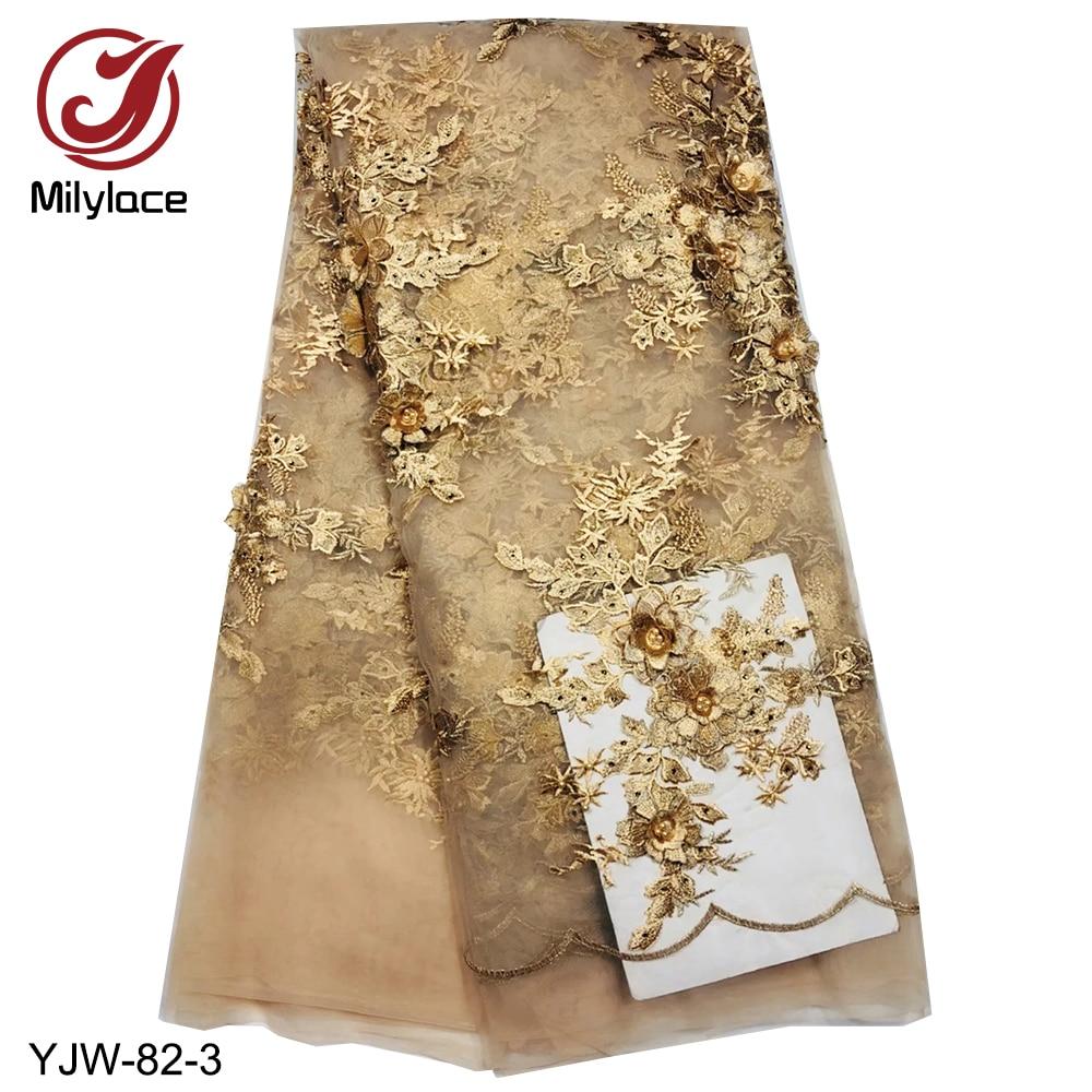 Milylace nieuwe komende afrikaanse kant stof borduren kralen tulle lace stof nigeriaanse franse kant stof voor party YJW 82-in Kant van Huis & Tuin op  Groep 3