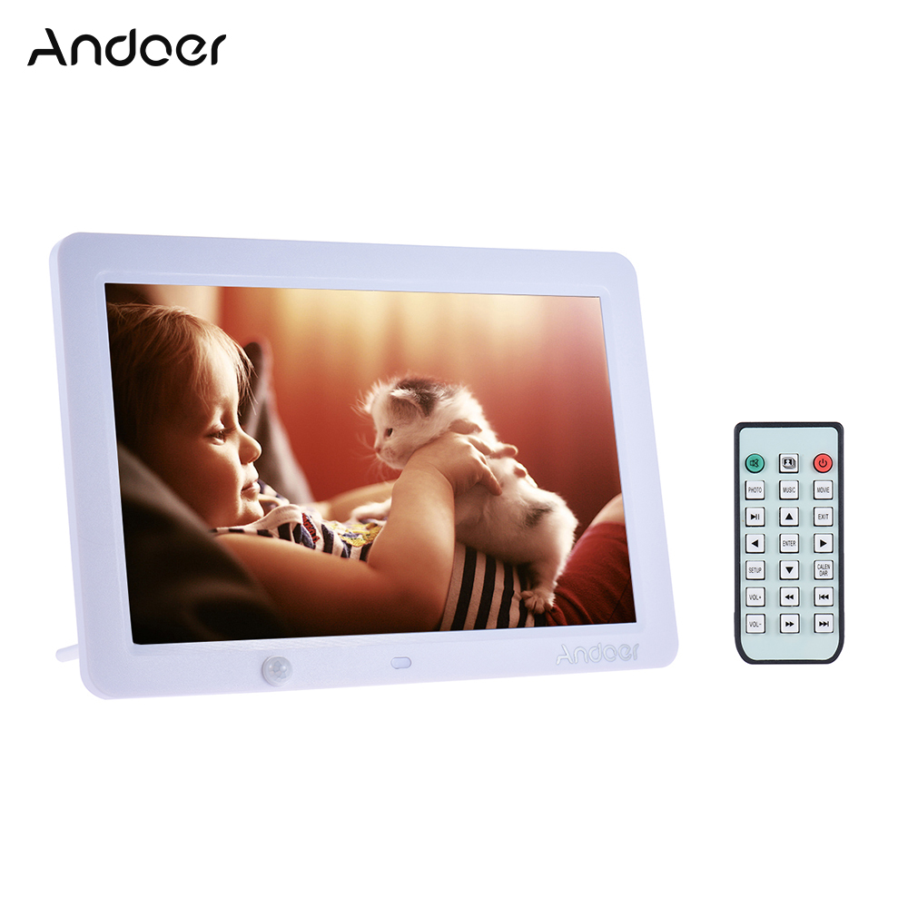 Andoer 12 LED Digital Photo Frame 1280 800 with Remote Control Human Motion Induction Detection MP3