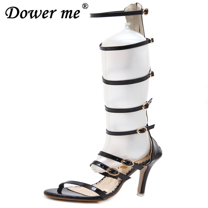 Rome Sandals Women Knee High Cool Boots Sexy Buckle Gold High Heels Clubwear Party Stiletto Shoes Gladiator High-heeled Sandals 2016 sexy open toed sandals bronzing 7 5cm kitten heels shoes narrow band gold high heeled sandals stiletto woman shoes