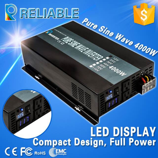 LED Display 4000W Household Power Inverter DC AC Converter Ture Off Grid Pure Sine Wave Solar Power Inverter Remote Controller